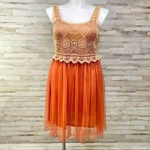 Pretty Angel Silk Blend Crochet Netting Dress NWOT